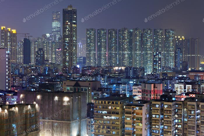 apartment buildings at night