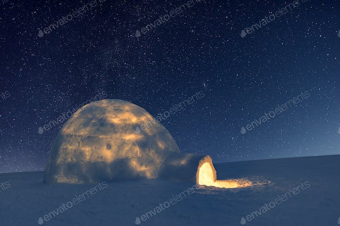 Wintry scene with resl snow igloo and milky way