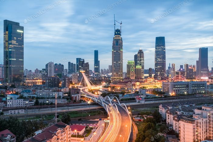 tianjin cityscape in nightfall