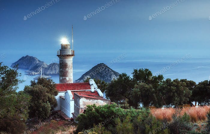 Lighthouse Gelidonya Peninsula in spring. Beautiful landscapes o