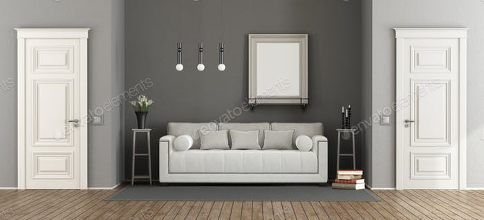White and gray classic living room