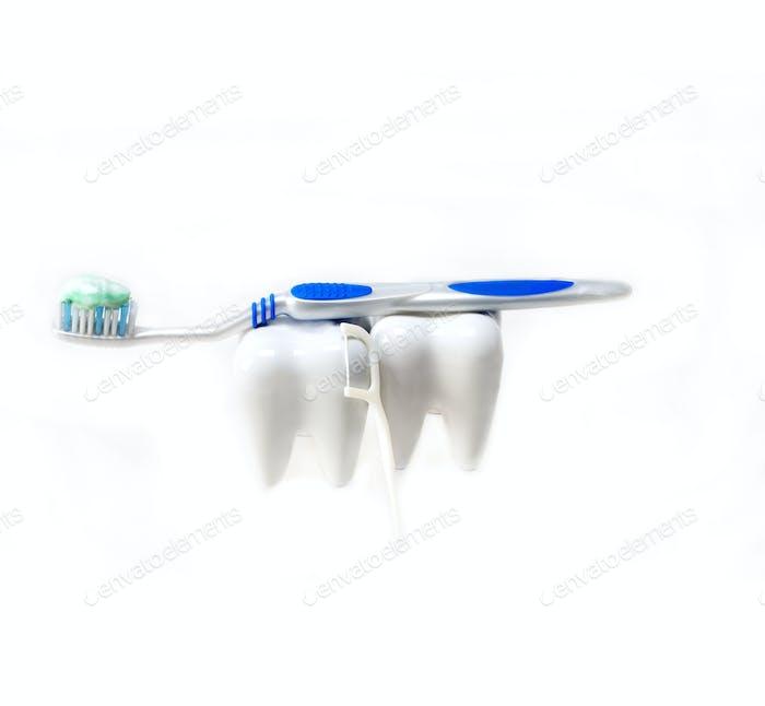 zwei Zähne und Bürste isoliert auf weiß