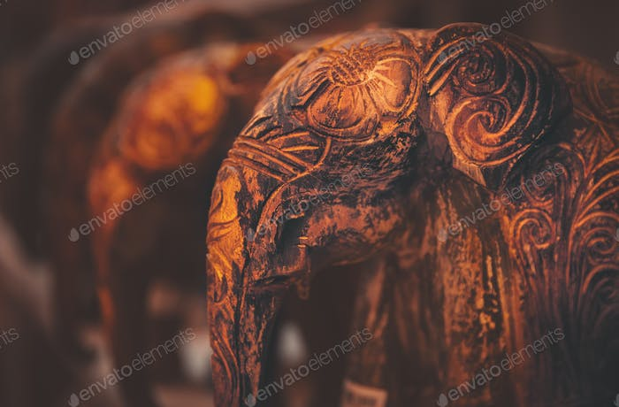 Beautiful wooden elephants