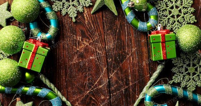 Green festive ornaments