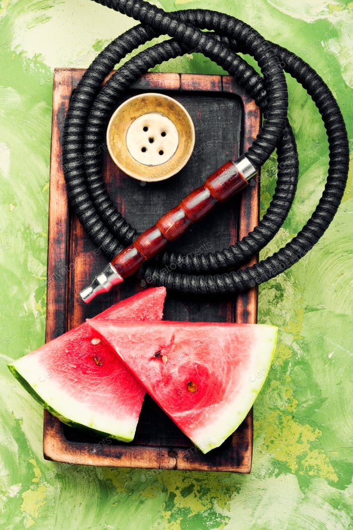Stylish retro hookah with watermelon flavor
