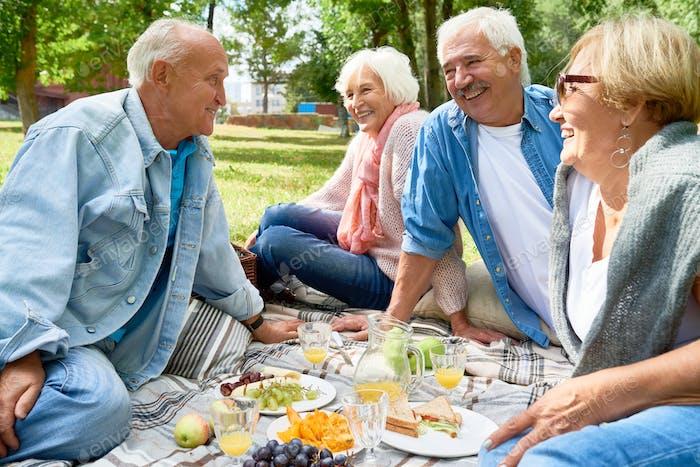 Senior People Enjoying Picnic in Park