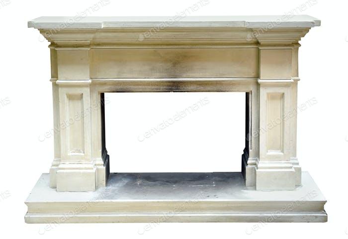 Old vintage marble or stone fire surround
