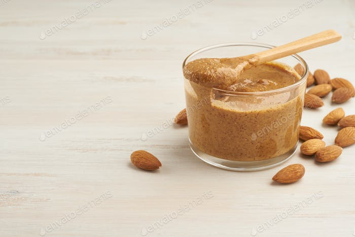 almond butter, raw food paste made from grinding almonds into nut butter