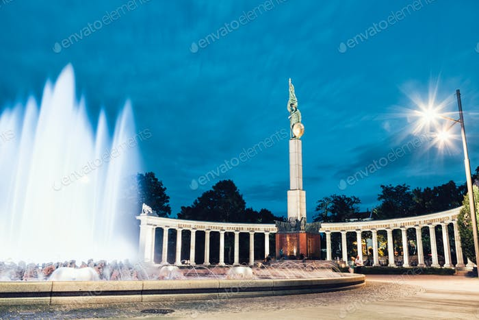 Heroes monument of the Red Army in Vienna at night