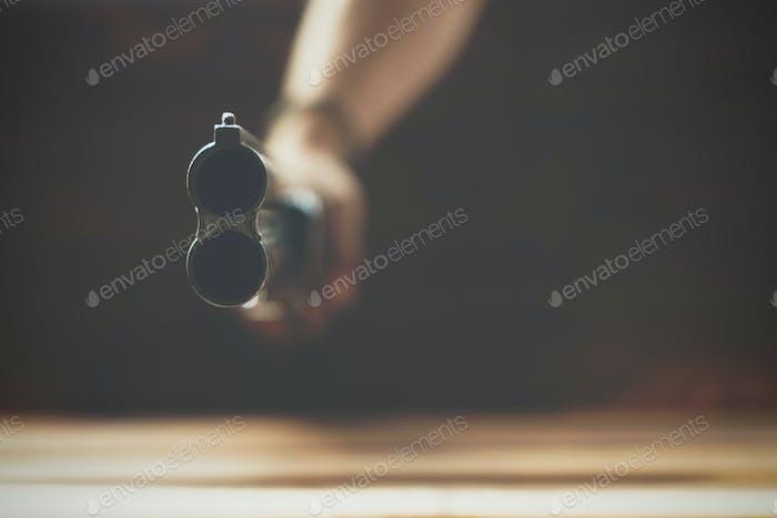 Close up of double barrel hunting gun