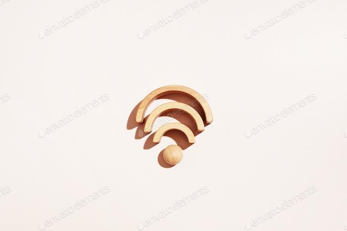 Wi-Fi Icon of Wooden Blocks
