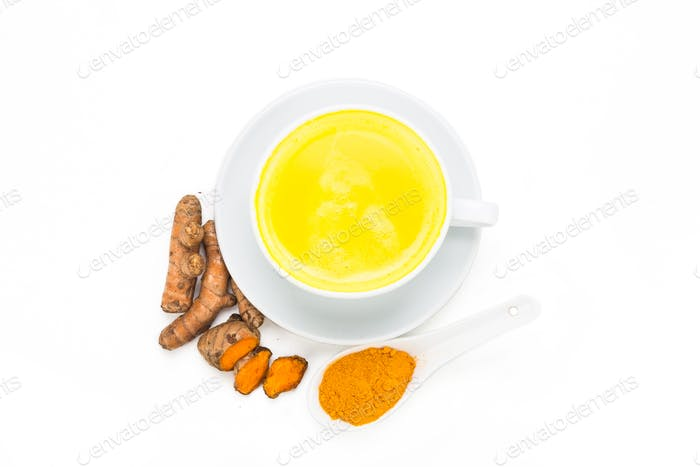 Turmeric with milk drinks good for beauty and health.
