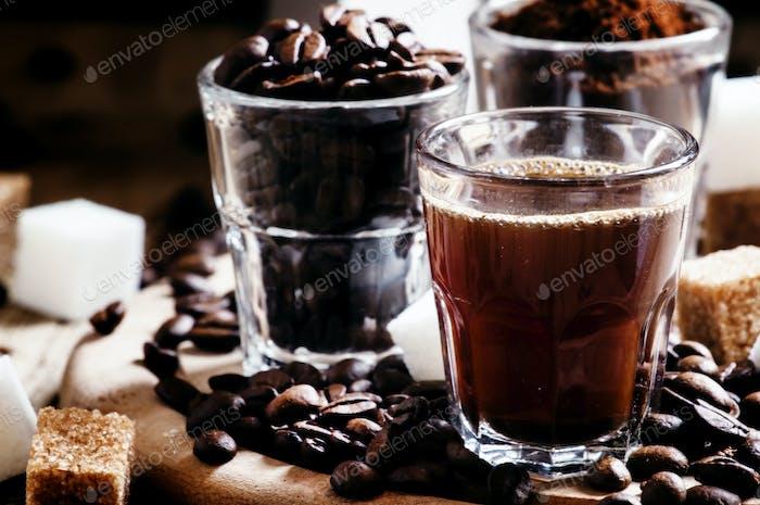 Grinded Arabica coffee beans, freshly brewed espresso