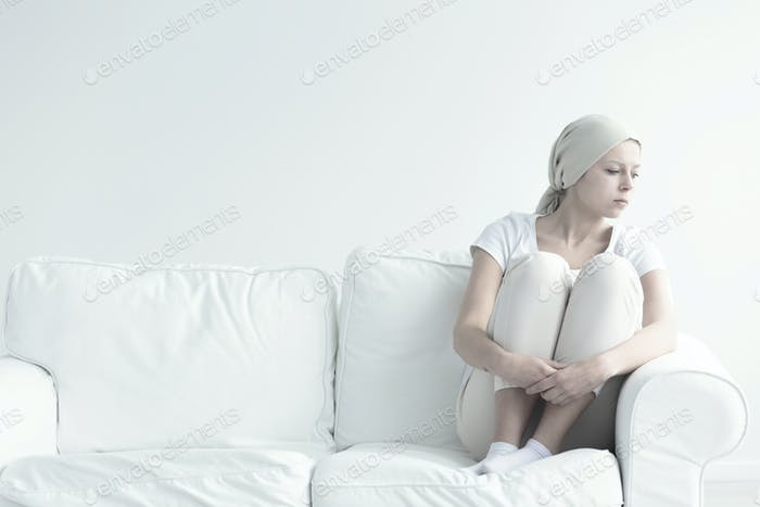 Lonely sick woman with cancer