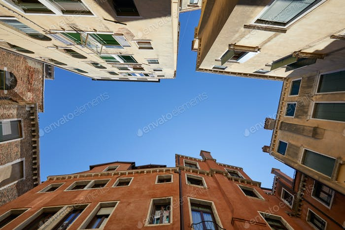 Venice buildings and houses facades low angle view