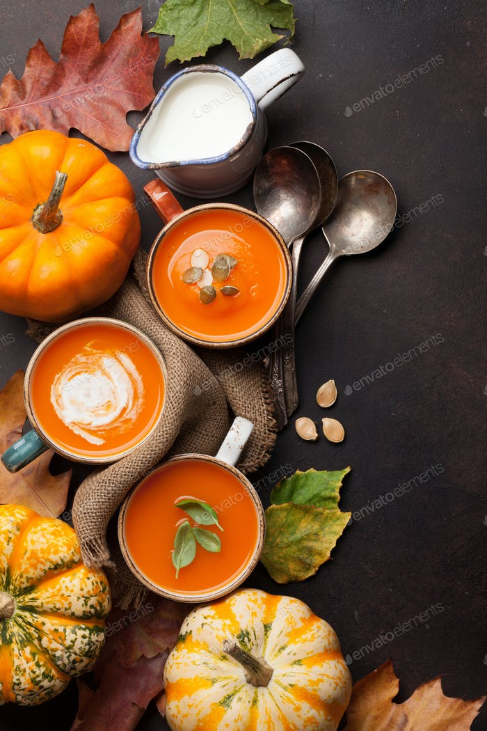 Autumn vegetarian pumpkin cream soup