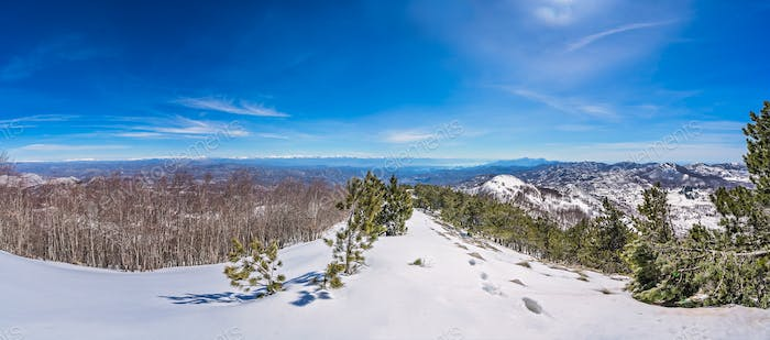 Lovcen National Park winter landscape