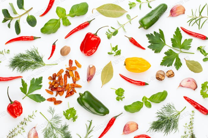 Spice herbal leaves and chili pepper on white background.