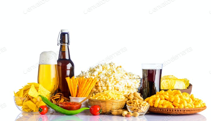 Junk Food and Beer on White Background