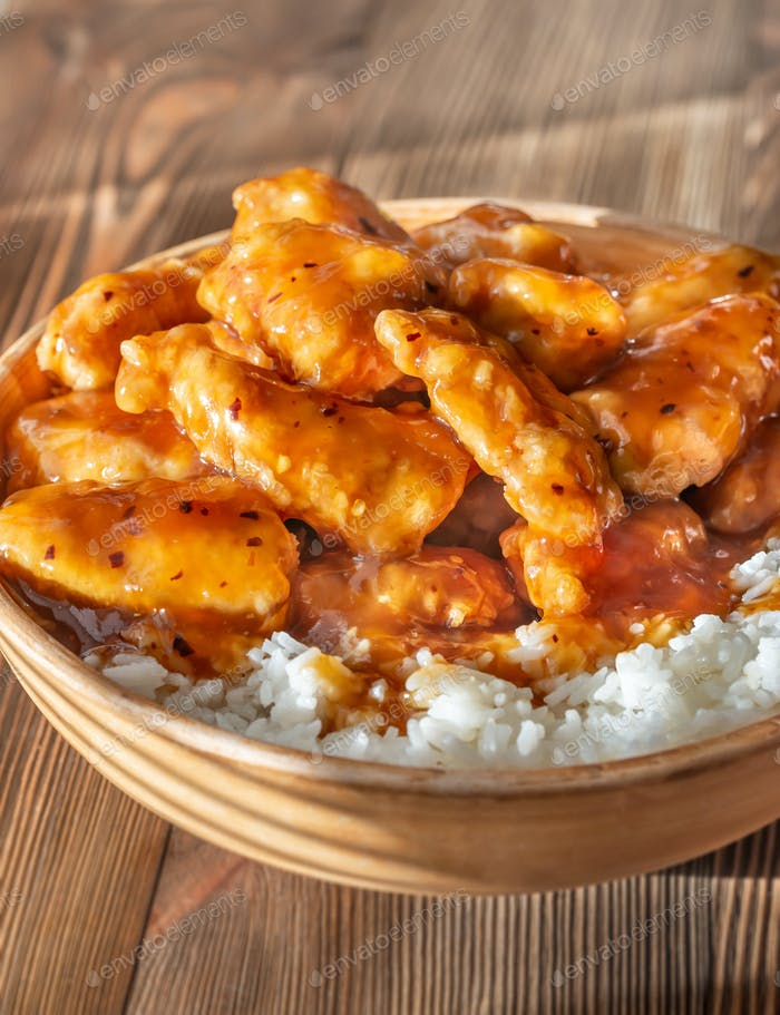 Bowl of orange chicken