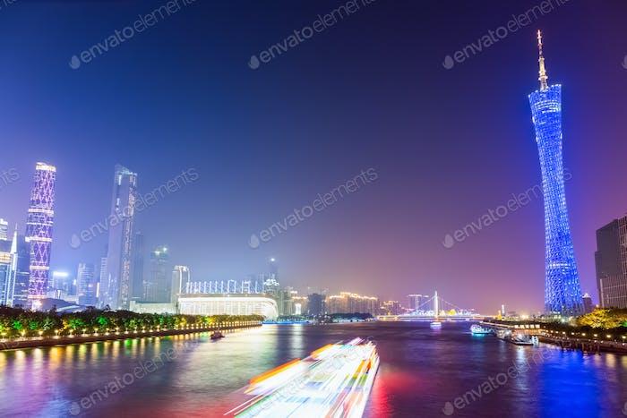 beautiful guangzhou pearl river at night