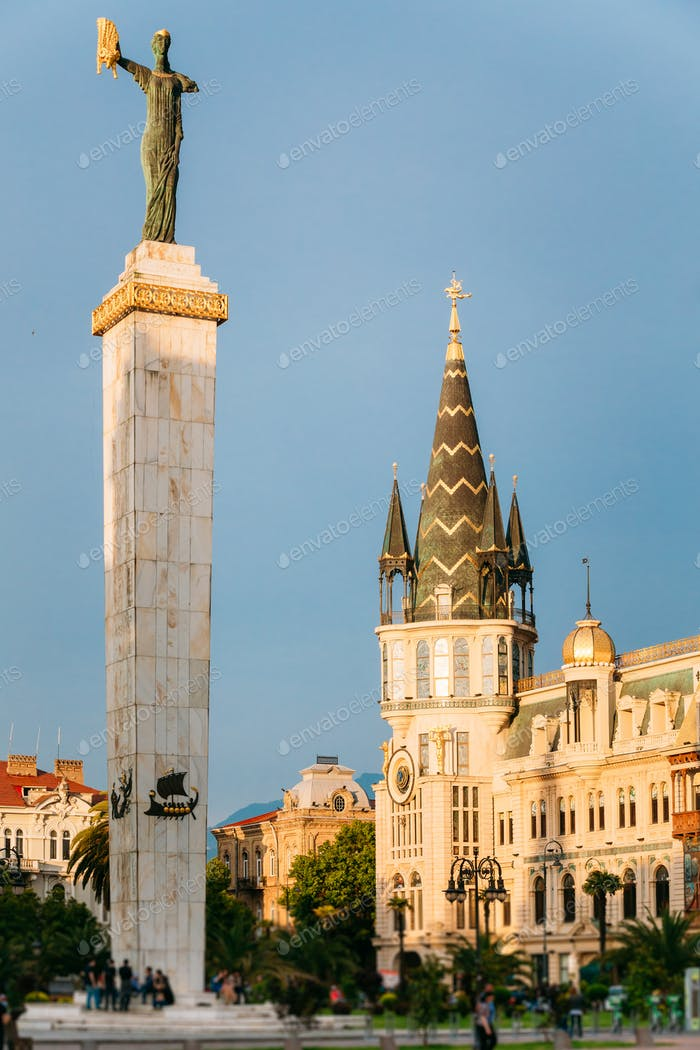Batumi, Adjara, Georgia. Statue Of Medea On Blue Sky Background