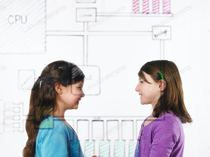 Two children facing each other behind sketch of a motherboard circuit on a see through panel.