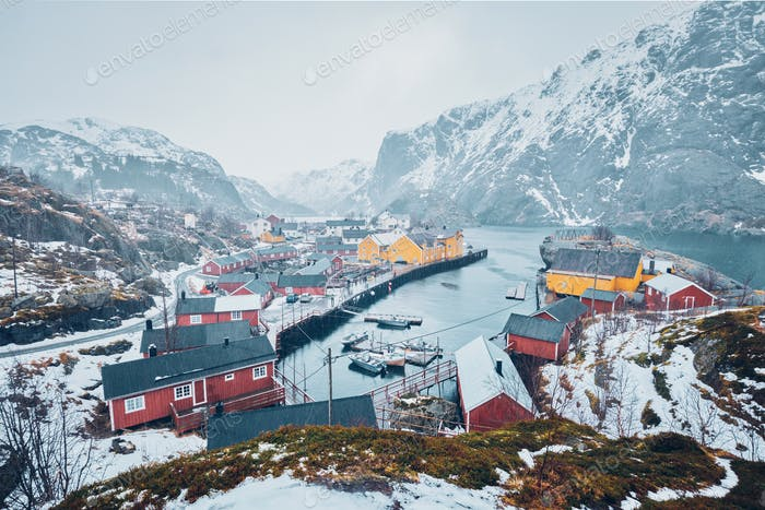 Nusfjord Fischerdorf in Norwegen