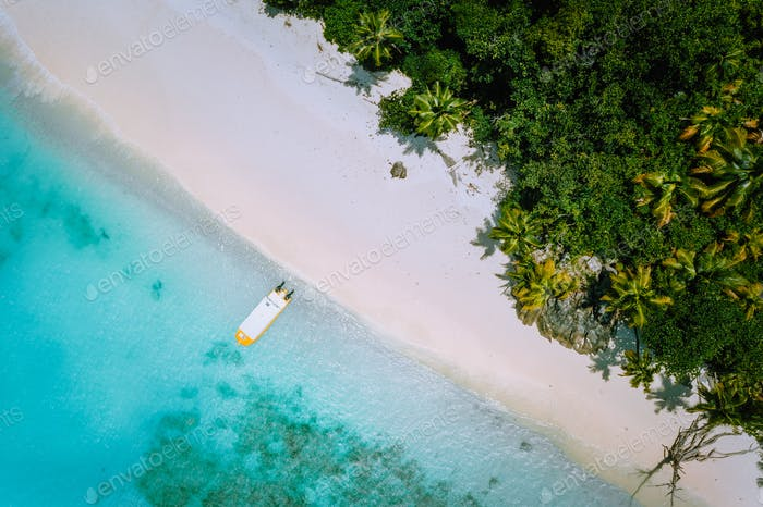 Top down aerial view of exotic tropical sandy beach with blue lagoon, palm trees and linely boat