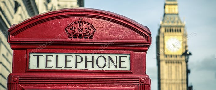 iconic british old red telephone box