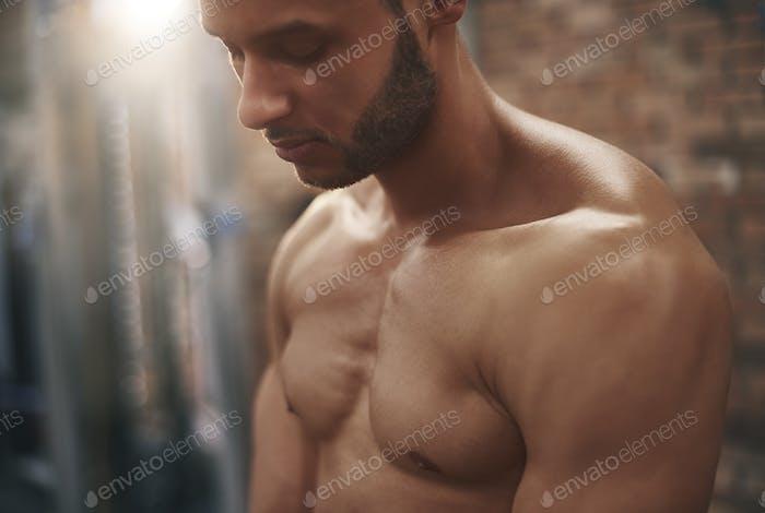 Close up of muscular man