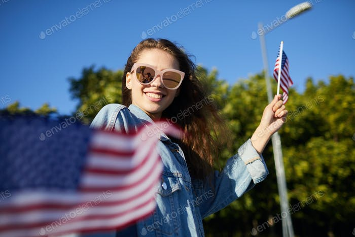 Girl strolling at national independence day parade