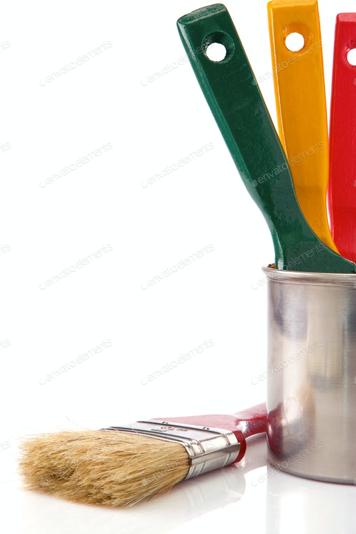 paint buckets, paint and brush isolated on white