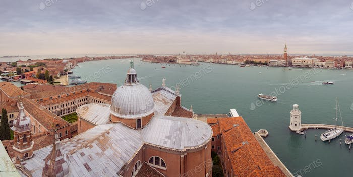 Panoramic cityscape view of Venice Grand Canal and skyline