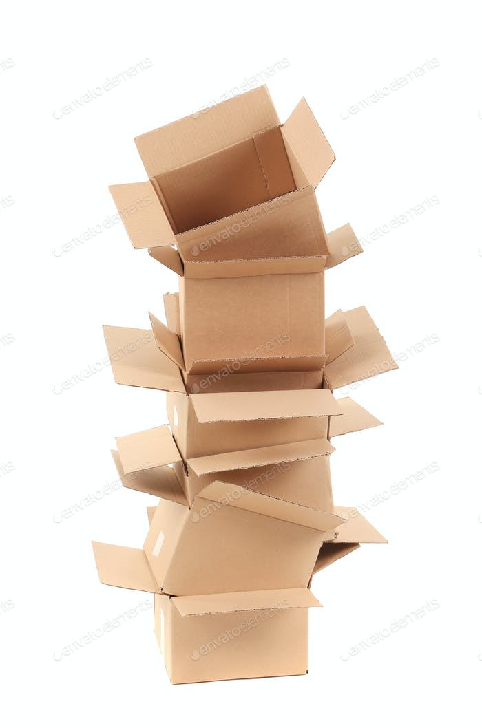 Stack of opened cardboard boxes.