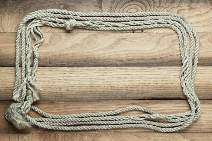 Old Wooden Background With Ship Rope