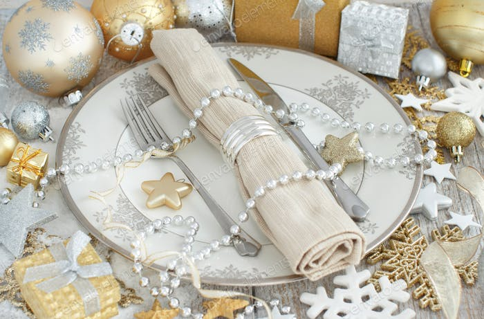 Silver and golden Christmas Table Setting