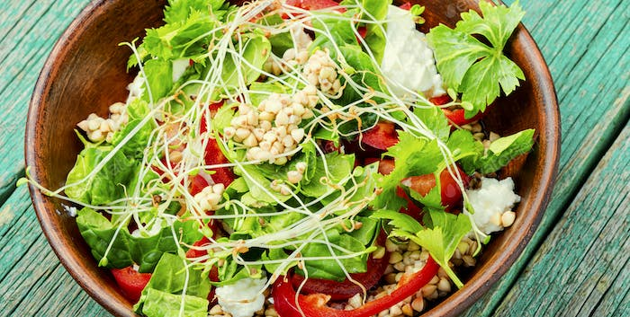 Vegetables salad of sprouted buckwheat