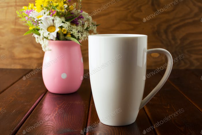 White coffee cappuccino mug rustic mockup with wildflowers in pi