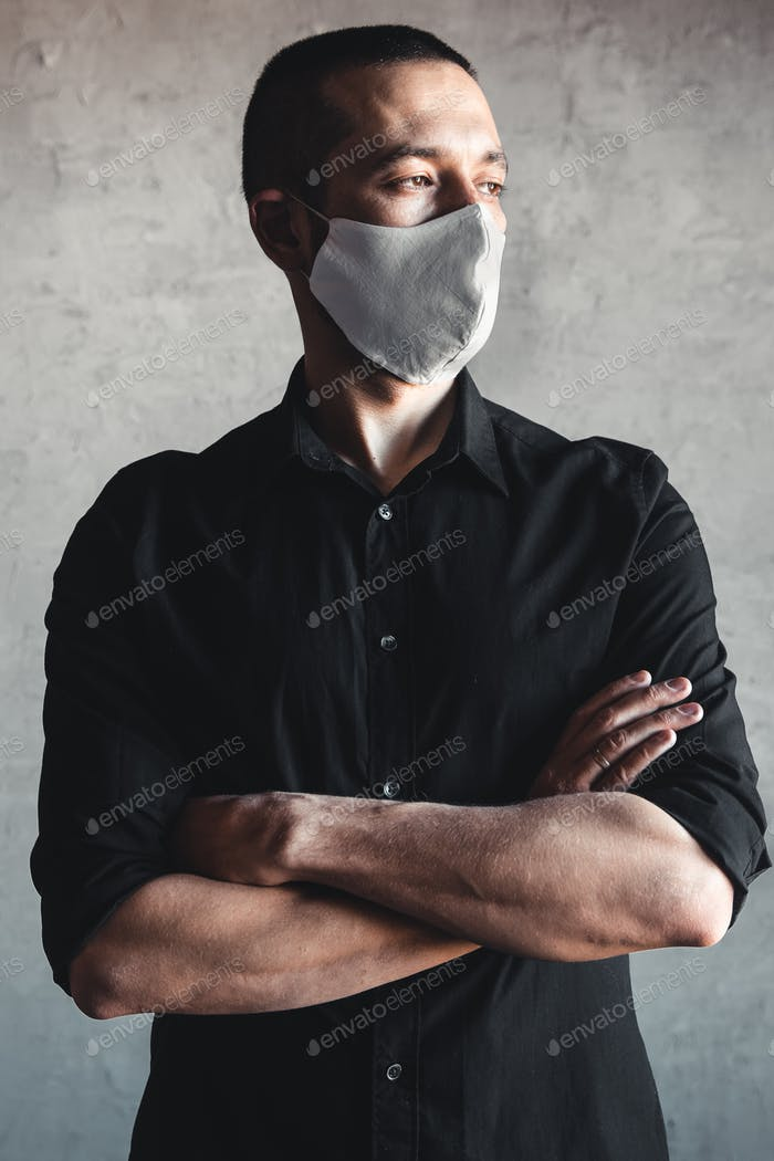 Coronavirus. Man wearing hygienic mask, infection, airborne, flu, pandemic, health, 2019-nCoV