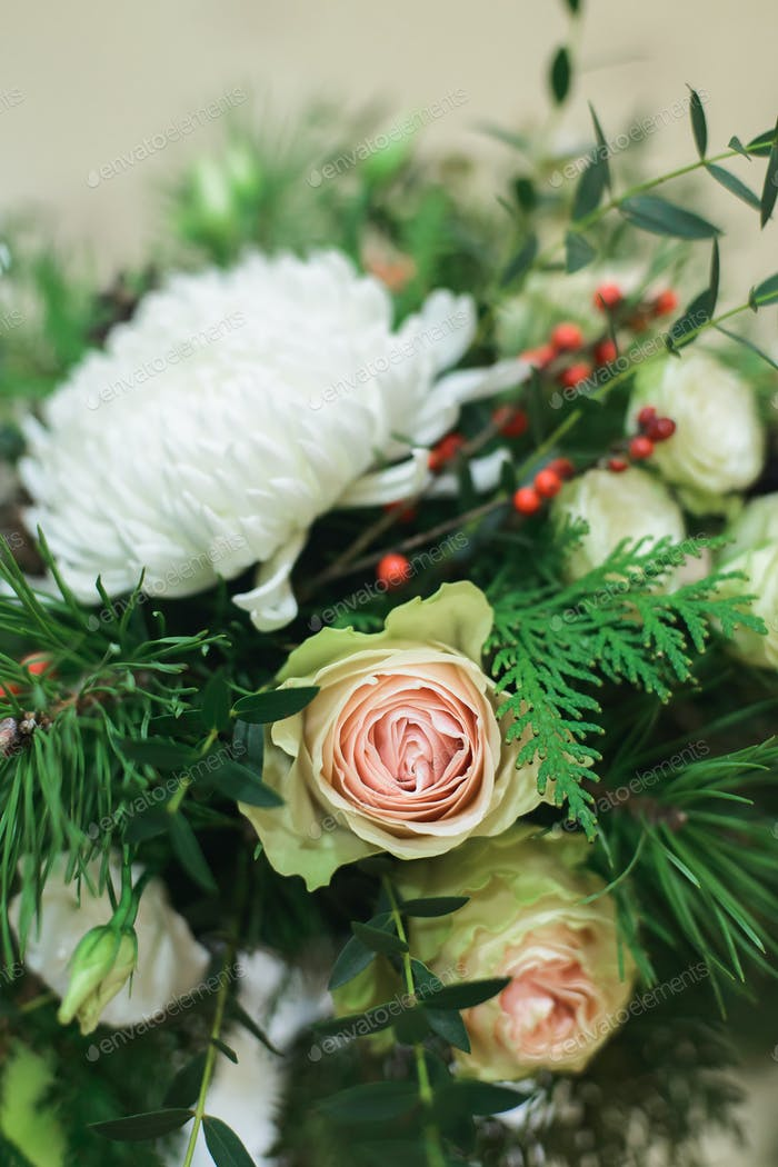 side view of close up winter bouquet to wedding