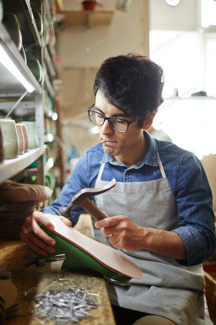 Herstellung von Schuhen in der Werk