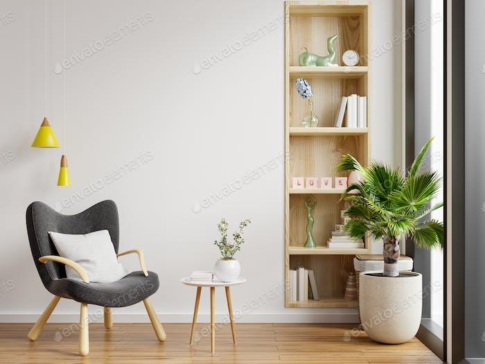 Minimalist interior of living room.