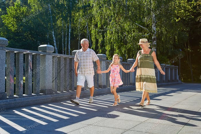 Child and grandparents, summer