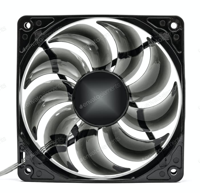 Computer fan, Isolated on white background