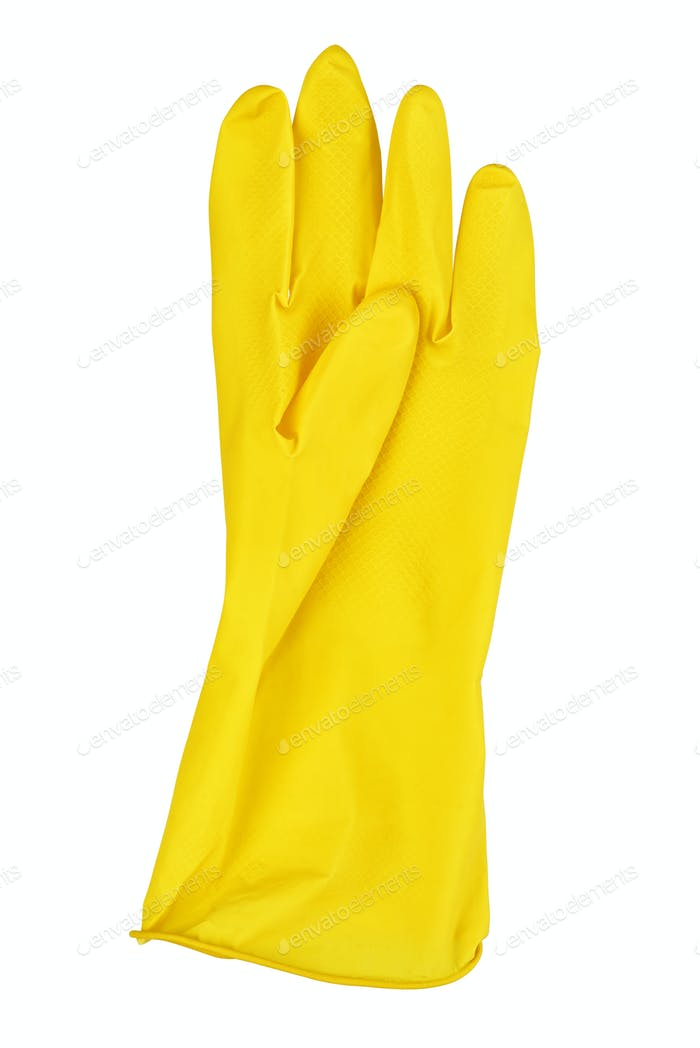 Yellow rubber glove isolated on white