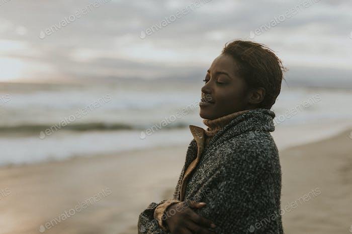 Woman enjoying the breeze