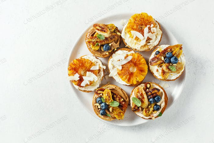 Delicious toasts with various toppings