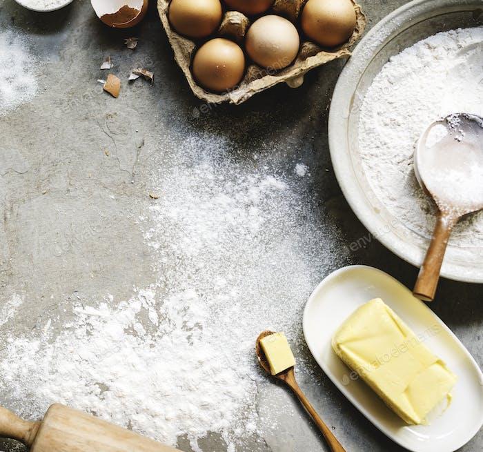 Flatlay of preparation pastry homemade recipe for bake