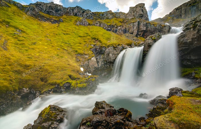 Part of the Klifbrekkufossar falls